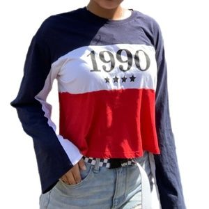 3/$30 Divided By H&M Color Block 1990 Crop Top S